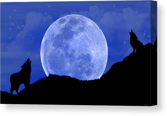 Wolves Canvas Print featuring the digital art Howl At The Moon by Evelyn Patrick