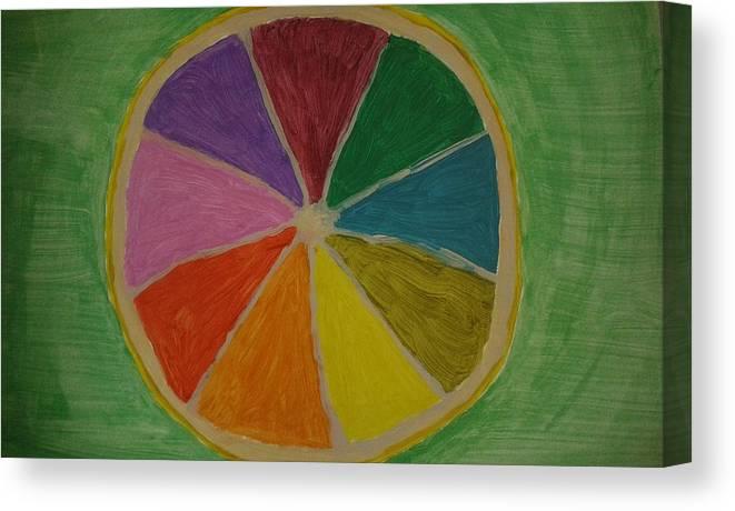 Lemon Canvas Print featuring the painting Rainbow Lemon by Alona Tokareva