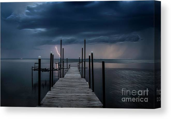 Dock Canvas Print featuring the photograph Storms On The Dock by Randy Kostichka