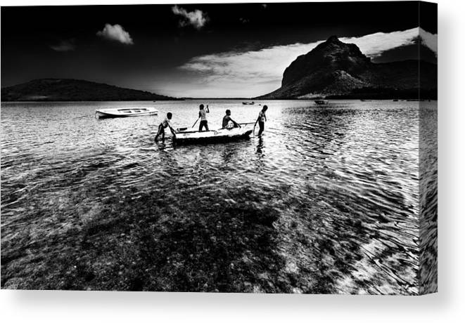 Boat Canvas Print featuring the photograph Walking The Dog by Julian Cook