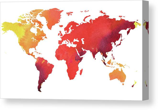 Watercolor Map Of The World Heated Canvas Print / Canvas Art by ...