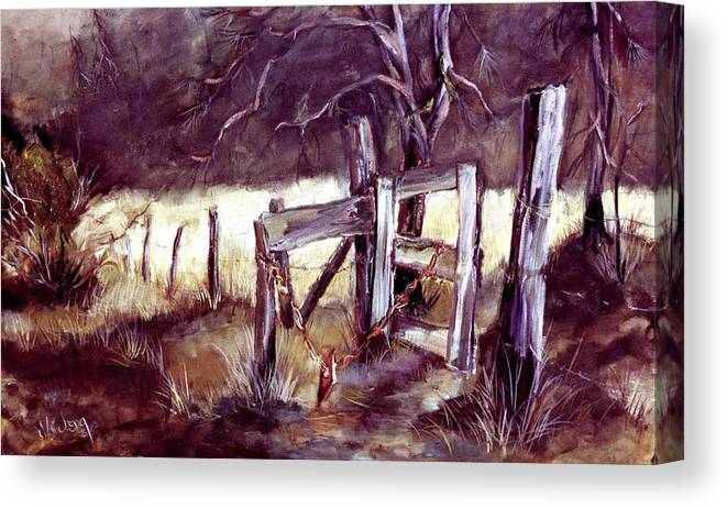 Gates Canvas Print featuring the painting Weighted Gate -feather River Park by Jean Groberg