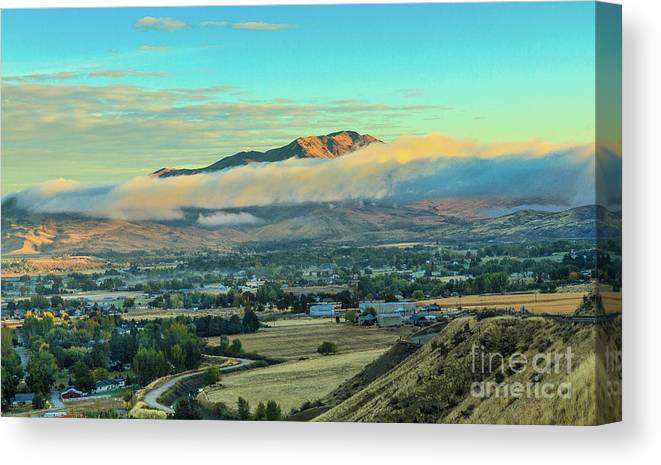 Gem County Canvas Print featuring the photograph Fog Over Squaw Butte by Robert Bales