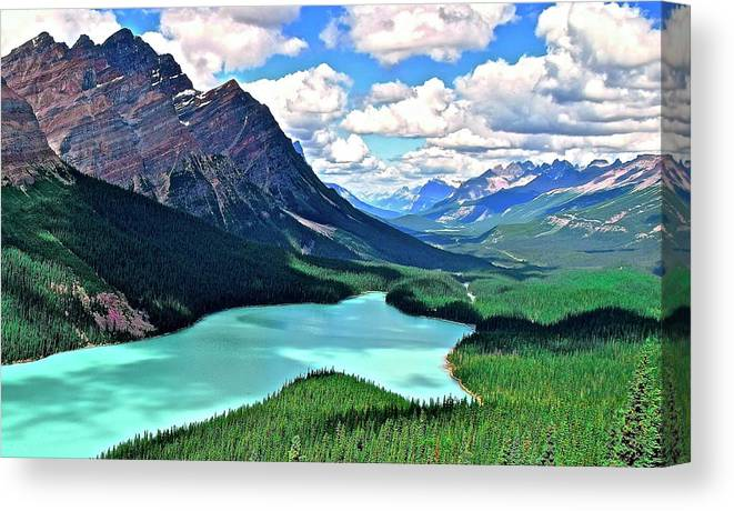 Peyto Canvas Print featuring the photograph Peyto In August by Frozen in Time Fine Art Photography