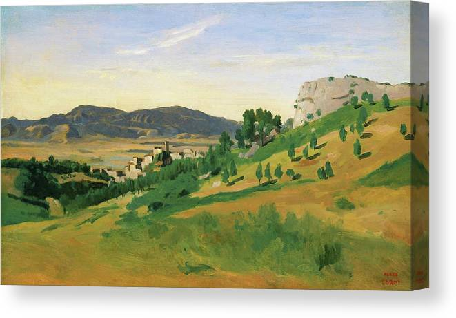 View Of Olevano Canvas Print featuring the painting View Of Olevano - Digital Remastered Edition by Jean-Baptiste Camille Corot