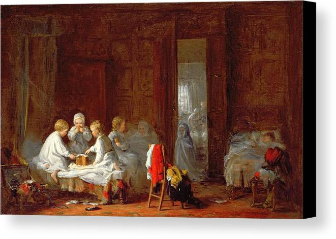 Boarding School Canvas Print featuring the painting A Midnight Feast, 1866 by Frederick Daniel Hardy