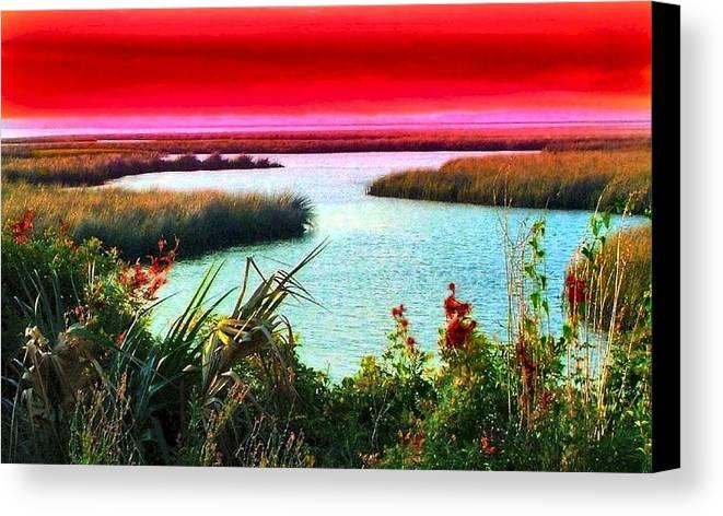Crimson Canvas Print featuring the photograph A Sunset Crimsoned by Julie Dant