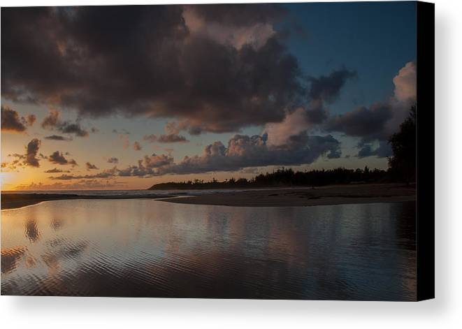 Aliomanu Beach Canvas Print featuring the photograph Beach Reflections by Roger Mullenhour