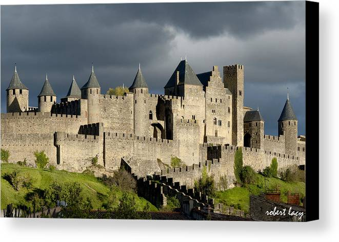 Carcassonne Canvas Print featuring the photograph Carcassonne Stormy Skies by Robert Lacy