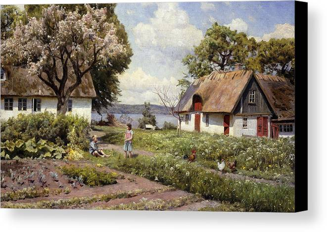 1930s Canvas Print featuring the painting Children In A Farmyard by Peder Monsted