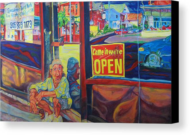 Figurative Canvas Print featuring the painting Come In We're Open by Claudette Losier