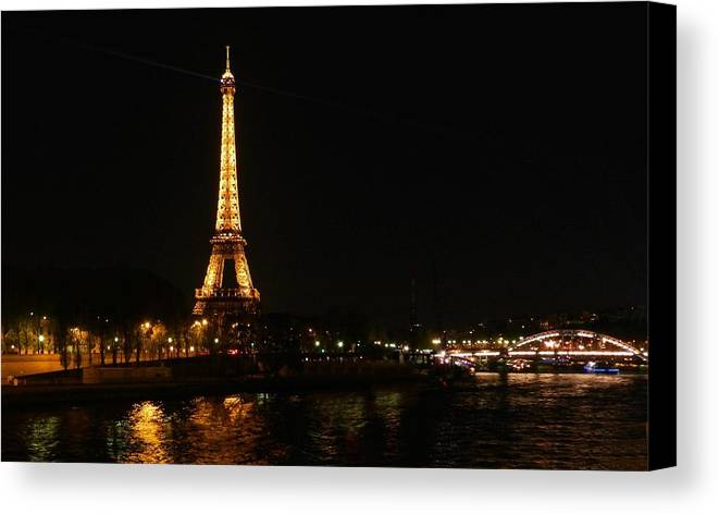 Paris Canvas Print featuring the photograph Eiffel Tower At Night by Pete Reynolds