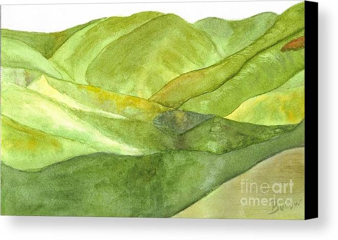 Peaceful Serene Contemplative Hills Valley Calm Green Peace Watercolor Art Canvas Print featuring the painting Greenpeace by Linda Burrow
