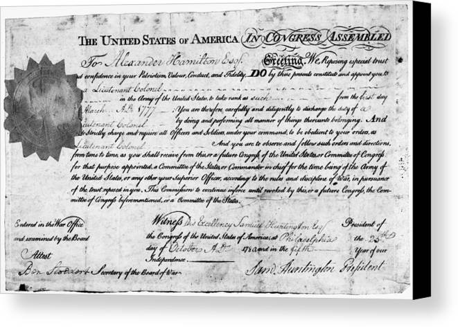 1777 Canvas Print featuring the photograph Hamilton: Appointment, 1777 by Granger