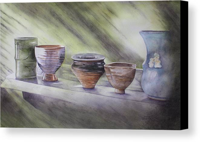 Hand Thrown Pottery Canvas Print featuring the painting Hand Thrown by Patsy Sharpe