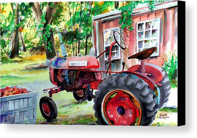 Hawk Hill Canvas Print featuring the painting Hawk Hill Apple Tractor by Scott Nelson