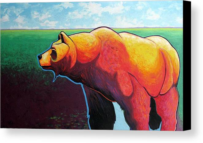 Grizzly Bear Canvas Print featuring the painting In His Prime by Joe Triano