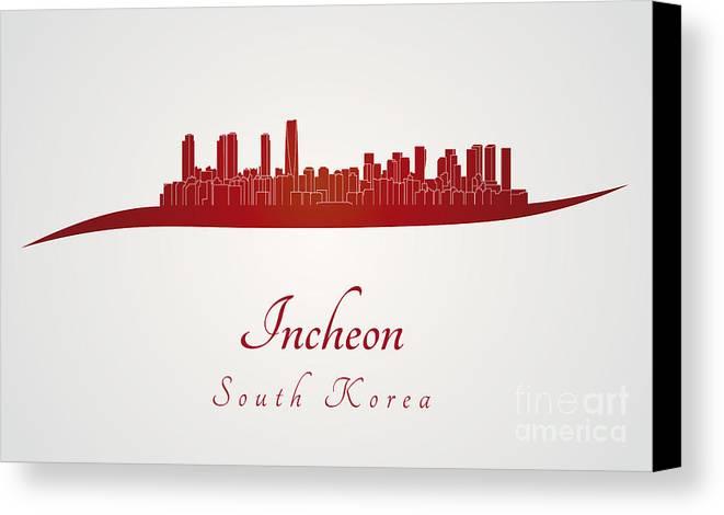 Incheon Skyline Canvas Print featuring the digital art Incheon Skyline In Red by Pablo Romero