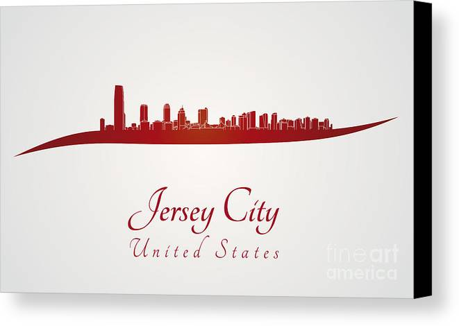Jersey City Skyline Canvas Print featuring the digital art Jersey City Skyline In Red by Pablo Romero