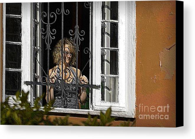 Window Canvas Print featuring the photograph She Smiles by Nadalyn Larsen