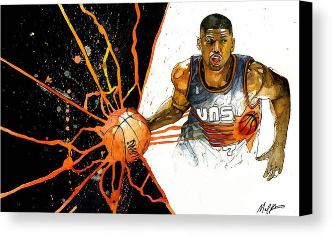 Kevin Canvas Print featuring the painting Kevin Johnson - Power Supplier by Michael Pattison