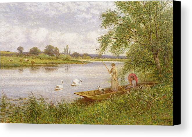 Swans Canvas Print featuring the painting Ladies In A Punt by Arthur Augustus II Glendening