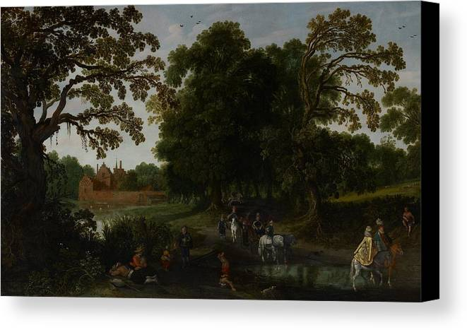 Landscape Canvas Print featuring the painting Landscape With A Courtly Procession Before Abtspoel Castle by Esaias I van de Velde
