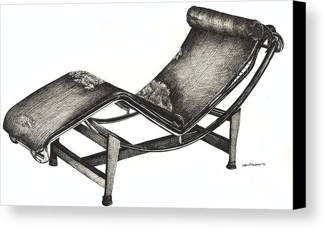 Chaise Longue Canvas Print featuring the drawing Leather Chaise Longue by Adendorff Design