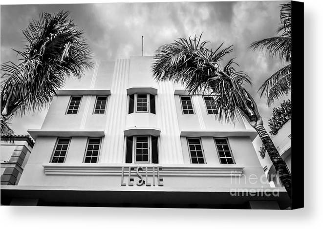1920s Canvas Print featuring the photograph Leslie Hotel South Beach Miami Art Deco Detail - Black And White by Ian Monk