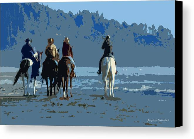 Horses Canvas Print featuring the photograph Long Beach Horses Study by Jacqueline DiAnne Wasson