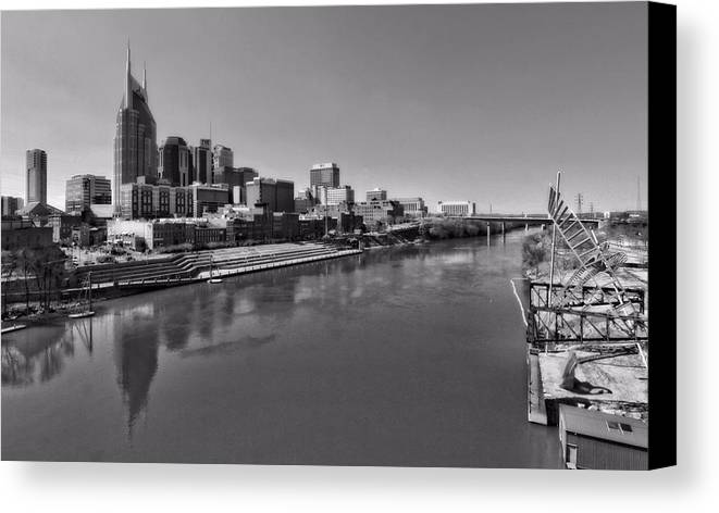 Nashville Skyline In Black And White At Day Canvas Print featuring the photograph Nashville Skyline In Black And White At Day by Dan Sproul