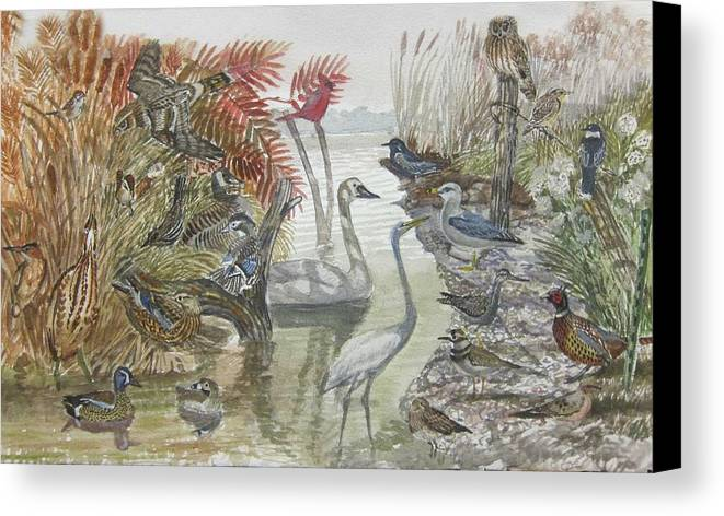 Cryptic Coloration Canvas Print featuring the painting Nature Scene And Unseen by Christopher Cudworth