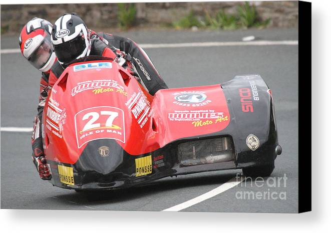 Isle Of Man Tt 2014 Canvas Print featuring the photograph Nicholas Dukes/william Moralee by Richard Norton Church