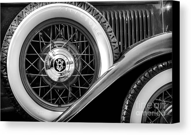 Car Canvas Print featuring the photograph Old Jag In Black And White by Michael Arend
