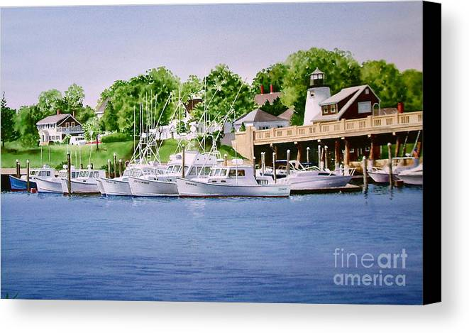 Trees Canvas Print featuring the painting Packet Landing by Karol Wyckoff