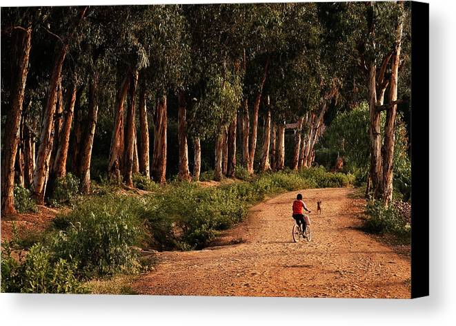 Childhood Canvas Print featuring the photograph Returning Home by Mary Jo Allen