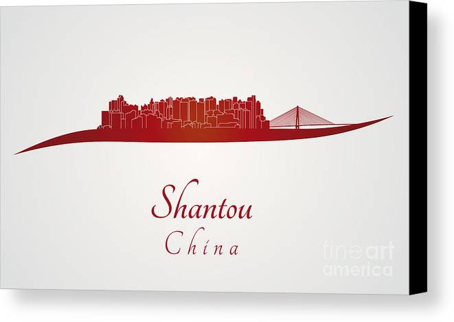 Shantou Skyline Canvas Print featuring the digital art Shantou Skyline In Red by Pablo Romero
