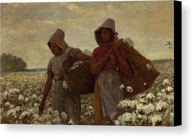 The Cotton Pickers Canvas Print featuring the digital art The Cotton Pickers by Winslow Homer