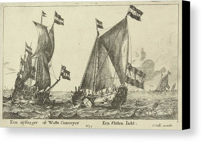 Sailing-ship Canvas Print featuring the drawing Two Ships A Statenjacht And An Interpreter by Anonymous And Reinier Nooms And Gerard Valck