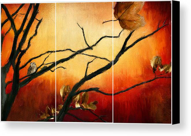 Owl At Sunset Canvas Print featuring the digital art View Of Autumn by Lourry Legarde