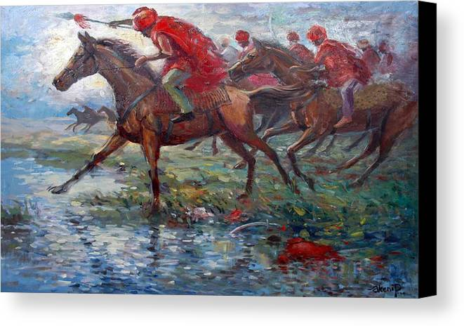War Canvas Print featuring the painting Warriors In Return by Prosper Akeni