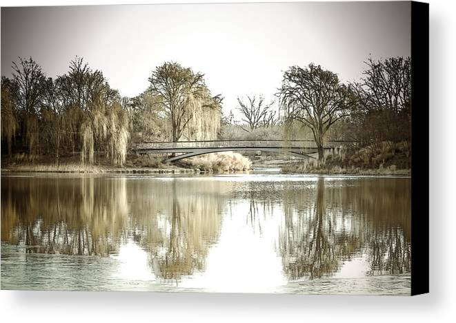 Landscape Canvas Print featuring the photograph Winter Reflection Landscape by Julie Palencia
