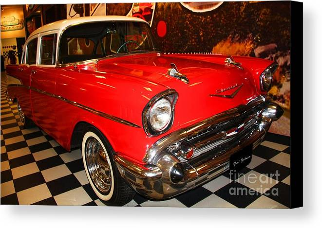 Cars Canvas Print featuring the photograph 1957 Chevy by Yumi Johnson