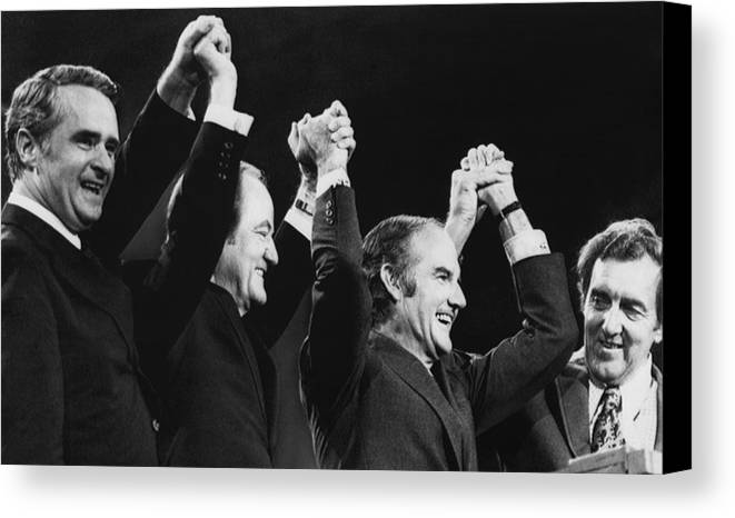 1970s Canvas Print featuring the photograph Us Elections. From Left Us Senator by Everett