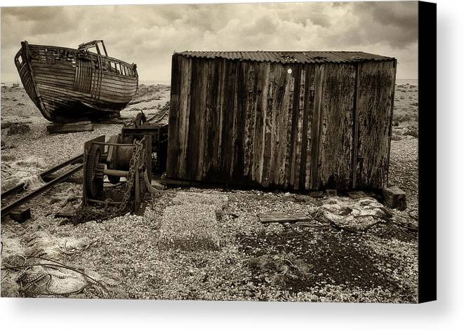 Fishing Canvas Print featuring the photograph Fishing Remains At Dungeness by David Turner