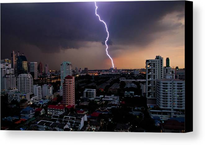 Horizontal Canvas Print featuring the photograph Lightning by Adrian Callan Photography