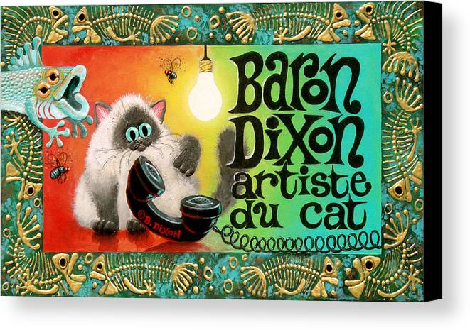 Cat Canvas Print featuring the painting Neocatism Bizcard by Baron Dixon