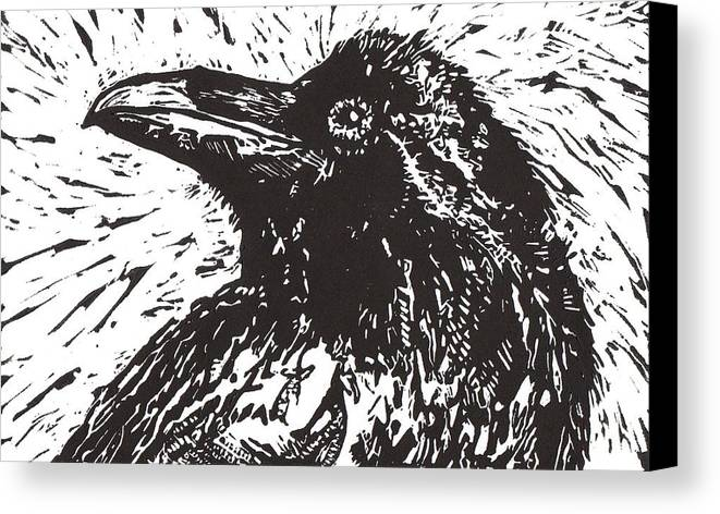 Linocut Canvas Print featuring the mixed media Raven by Julia Forsyth