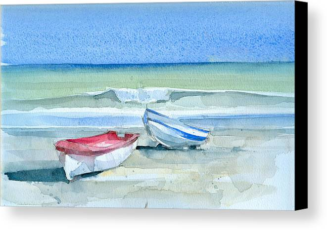 Sea Canvas Print featuring the painting Sabinillas Fishing Boats by Stephanie Aarons