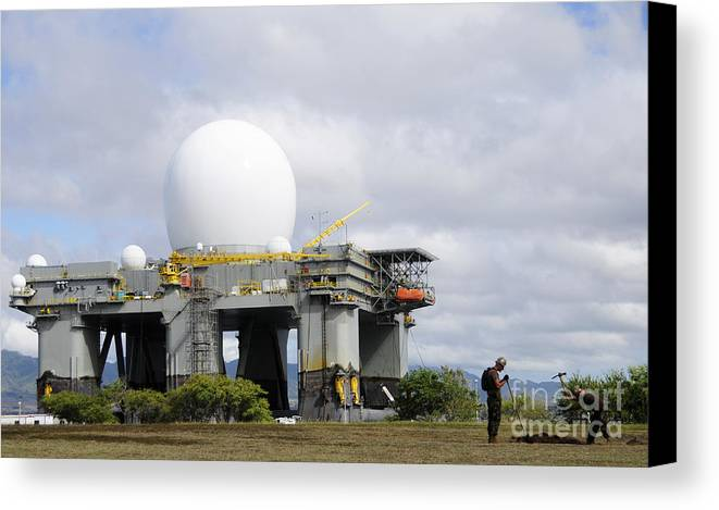 Hawaii Canvas Print featuring the photograph The Sea Based X-band Radar, Ford by Stocktrek Images